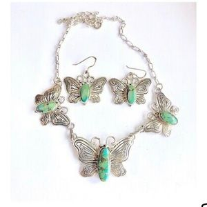 Signed Navajo Sterling Butterfly Necklace Earrings